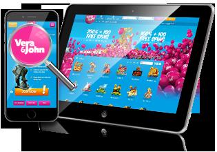 Mobil & tablet spil hos Vera & John Casino